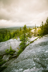 A beautiful panorama of lake and forest from Koli National park peaks