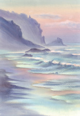 Seascape with mountains watercolor