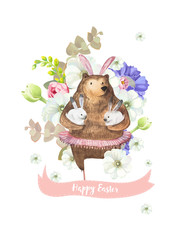 Happy Easter greeting card with bunch of beautiful spring flowers on background and funny bear in ballet tutu holding two little white rabbits. Vector illustration for banner, postcard, invitation.