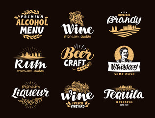 Menu bar, icons set. Labels of alcoholic drinks such as wine, brandy, rum, craft beer, whiskey, liqueur, tequila. Symbols, vector illustration