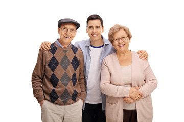 Young guy with an elderly man and an elderly woman