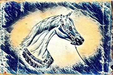 Freehand horse illustration painting