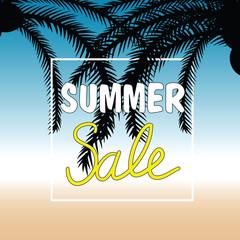 summer sale with palm in color design illustration