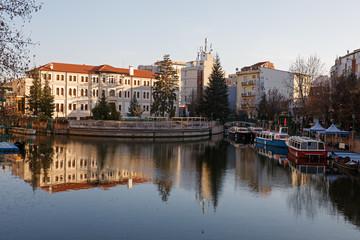 Eskisehir city center and Porsuk River.