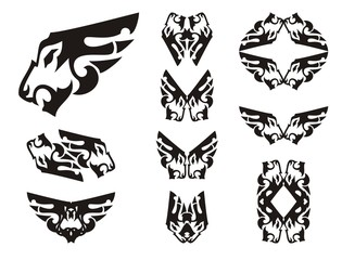 Aggressive lion head symbols in the form of a wing. Tribal peaked lion head set, great for vehicle graphics, tattoos, stickers and T-shirt designs. Ready for vinyl cutting