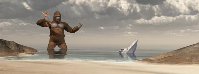 Huge gorilla, woman in his hand and sunken boat