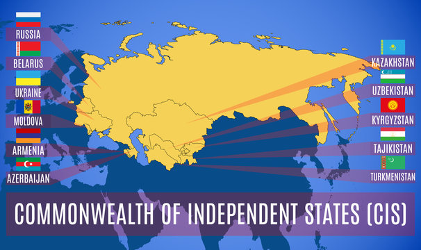 Schematic map of the Commonwealth of Independent States (CIS).