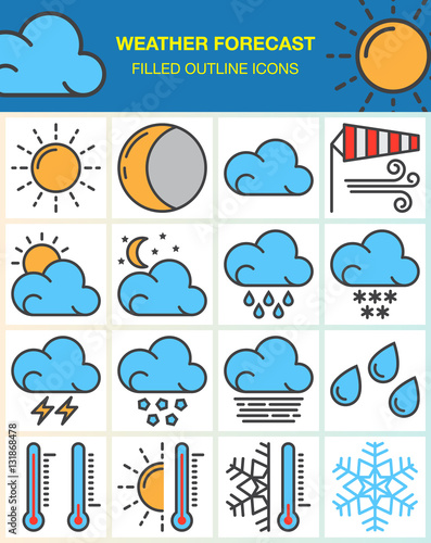 Weather Forecast Line Icons Set Filled Outline Vector Symbol