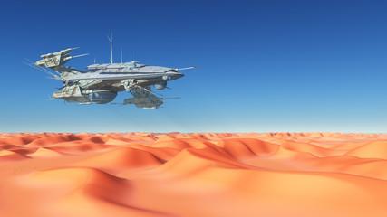 Großes Raumschiff über einer Wüste