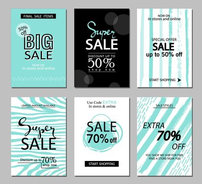 Set of social media sale website and mobile banner templates. Vector banners, posters, flyers, email, newsletter, ads, promotional material. Typography discount card design