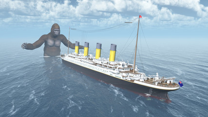 Huge gorilla and ocean liner