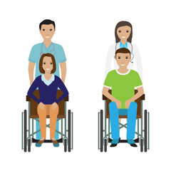 Disability people in wheelchair with a hospital stuff. Disabled man and woman with medical employee.