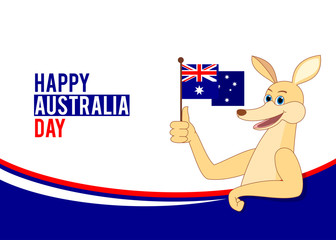 Australia day illustration with cartoon kangaroo holding Australian flag