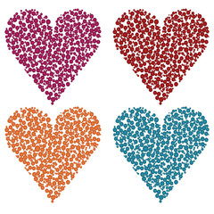 set of different colored hearts
