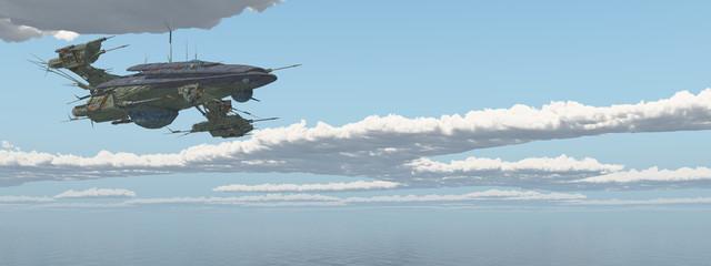Raumschiff über dem Meer