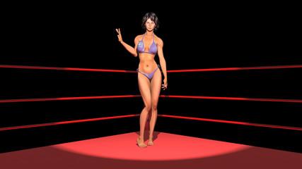 Frau im Scheinwerferlicht im Boxring
