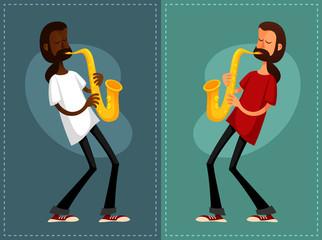 funny cartoon guys playing saxophone