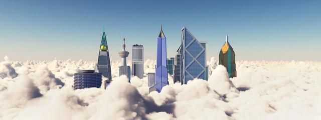 Wolkenkratzer über den Wolken