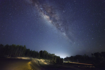A beautiful view of the Milky Way in Kudat, Sabah Borneo. Long exposure photograph with grain. Image contain certain grain or noise and soft focus.