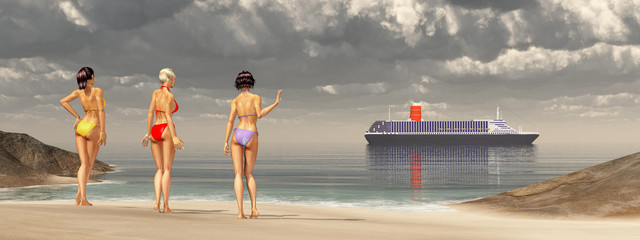 Frauen im Bikini am Strand und vorbeifahrendes Kreuzfahrtschiff