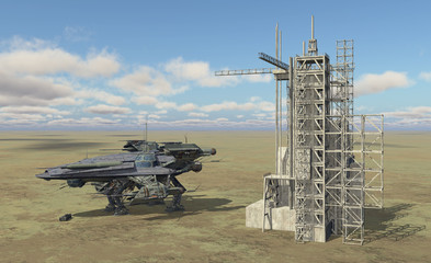 Raumschiff und Raumstation in einer Landschaft
