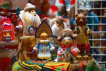 russian trtadition dolls, ded-moroz and snegurochka. snowman, bear