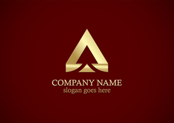 gold triangle letter a business logo