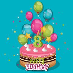 happy birthday celebration card vector illustration design