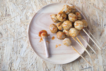 Pork ball with sweet spicy sauce