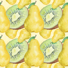 Watercolor Fruits Seamless Pattern Hand-Painted Illustration Background Texture Wallpaper Scrapbook Paper