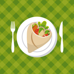 plate with wrap with vegetables over green background. colorful design. vector illustration