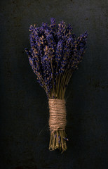 Bunch of lavender flower on dark tray