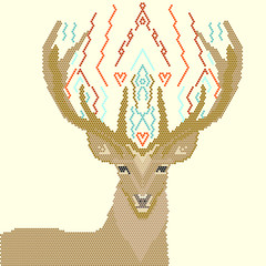 Deer Image of Geometric Shapes, on a Yellow Background