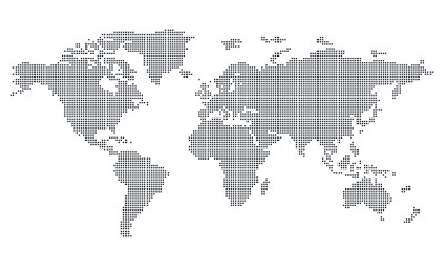 Vektor - Weltkarte (Quadrat/Pixel; fein) / Vector - World map (Square/Pixel; fine)