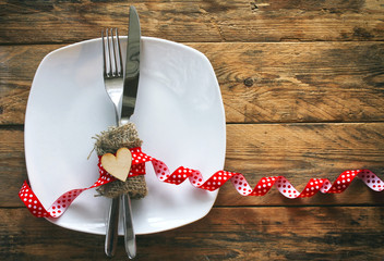 valentine's day background, plate, fork, knife, plywood heart
