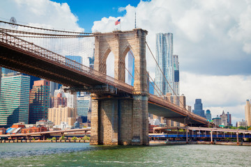 view of Manhattan with famous Brooklyn Bridge