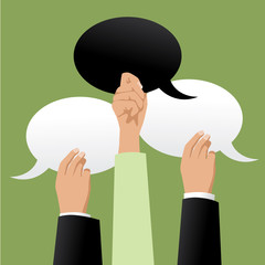 Three hands holding black and white speech bubbles with copy space. Flat design. EPS 10 vector stock illustration