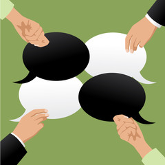 Four hands holding black and white speech bubbles with copy space. Flat design. EPS 10 vector stock illustration