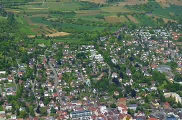 aerial view along the Schutterlindenberg in Lahr Baden, Germany