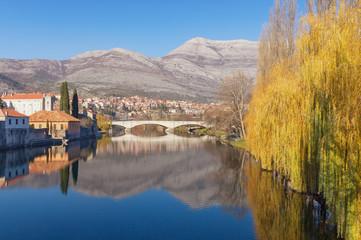 View of Trebisnjica river in Trebinje city, Bosnia and Herzegovina