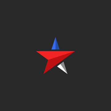 Star logo mockup, USA patriotic icon design element template in american flag colors, t-shirt national print