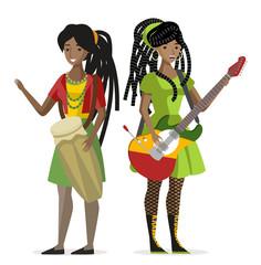 dreadlocks rasta reggae duet guitarist guitar and drums african girls