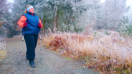 Overweight woman has done New Year resolution for weight loss in new year. Obese hiker walking on forest trail in winter cold weather. Nordic walking in Czech National Park Sumava.