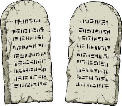 A cartoon of a pair of ancient stones tablets containing written laws.