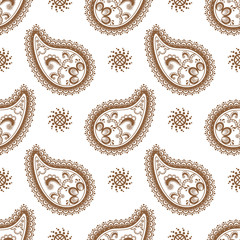 Background with brown and white lace buta decoration items on white background.