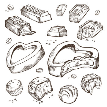 Vector set of sketches bitten chocolates. Sweet rolls, bars, glazed, cocoa beans. Isolated objects on a white background
