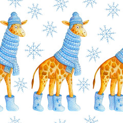 Cute cartoon seamless pattern with watercolor giraffe in a blue knitted scarf, boots with the snowflakes and hat with pompom. Cute hand made illustration for children