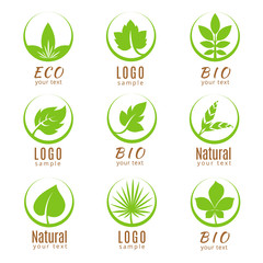 Wall Mural - Nature logo set or ecology labels with green leaves isolated on white background.