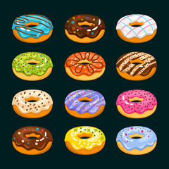 Donut cake cartoon icons. Chocolate assorted donuts vector illustration