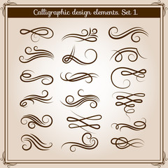 Flourish ornament embellishments set. Vector calligraphic flourishes elements in retro style
